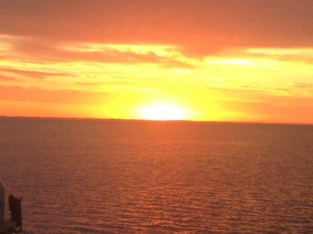 sun sets over bass strait